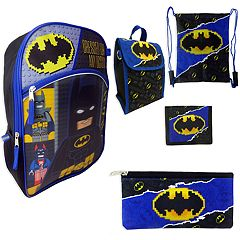 Kids DC Comics Lego Batman Backpack, Lunchbox, Cinch Sack, Pencil Case & Wallet Set