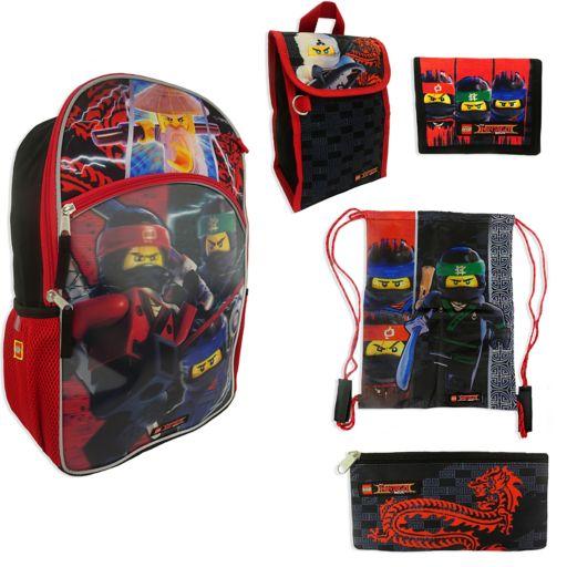 Kids Lego Ninjago Backpack, Lunchbox, Cinch Sack, Pencil Case & Wallet Set