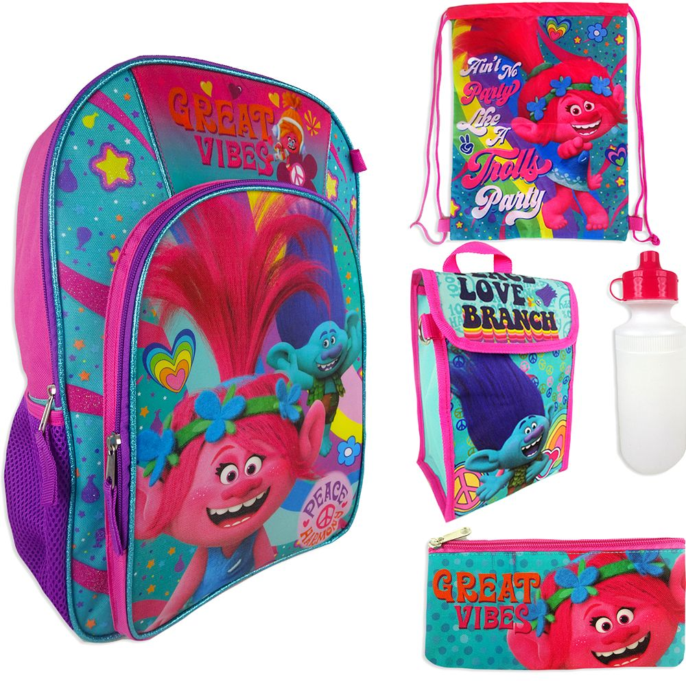 Kids' DreamWorks Trolls Poppy & Branch Backpack, Lunchbox, Cinch Sack, Pencil Case & Water Bottle Set