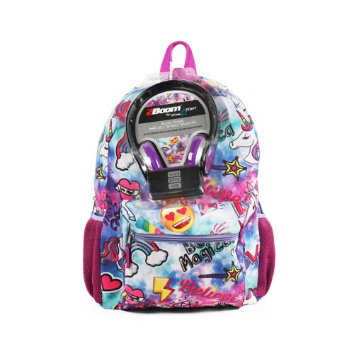 Kids Emoji Unicorn Backpack With Headphones