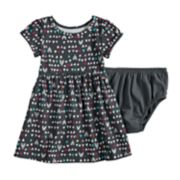 Baby Girl Jumping Beans® Shirred Skirt Pattern Dress