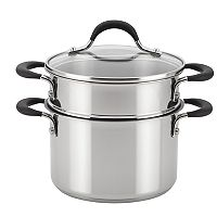 Circulon Momentum 3-qt. Stainless Steel Nonstick Straining Saucepot with Steamer Insert