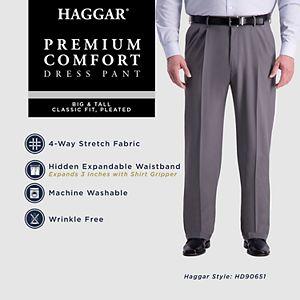 Big & Tall Haggar® Premium Comfort Classic-Fit Pleated Hidden Expandable Waistband Dress Pants