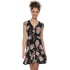 Juniors' Love, Fire Cinch Front Skater Dress