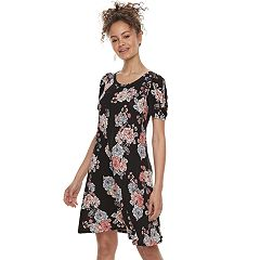 Juniors' Love, Fire Ruched Sleeve Swing Dress