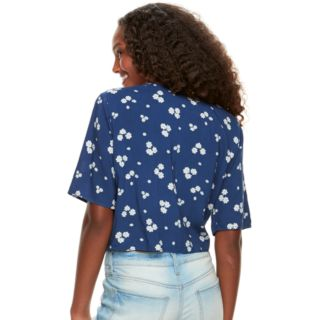 Juniors' About A Girl Printed Tie-Front Shirt