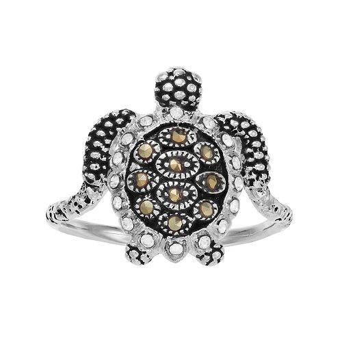 Sterling Silver Crystal & Marcasite Sea Turtle Ring