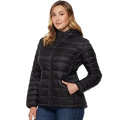 Plus Size Heat Keep Hooded Packable Puffer Down Jacket