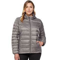 Plus Size HeatKeep Hooded Packable Puffer Down Jacket