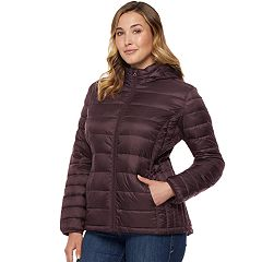 Plus Size HeatKeep Hooded Packable Puffer Down Jacket