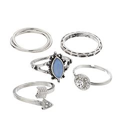 Mudd® Arrow, Marquise & Simulated Crystal Ring Set