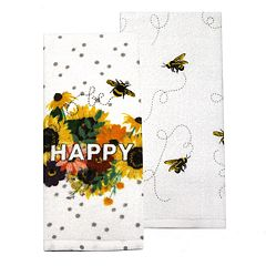 Celebrate Fall Together Bee Happy Kitchen Towel 2-pack