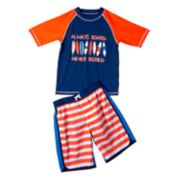 "Boys 4-7 I-Extreme Patriotic ""Always Board, Never Bored"" Raglan Rash Guard & Swim Trunks Set"