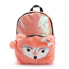 Kids Sequin Plush Fox Backpack