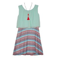 Girls 7-16 IZ Amy Byer Printed Sleeveless Popover Dress with Necklace