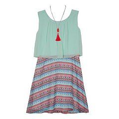 Girls 7-16 IZ Amy Byer Printed Sleeveless Popover Dress with Necklace