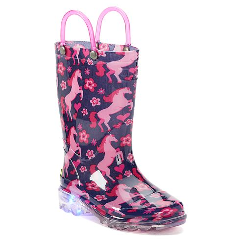 Western Chief Glitter Horse Lighted Girls' Light Up Waterproof Rain Boots
