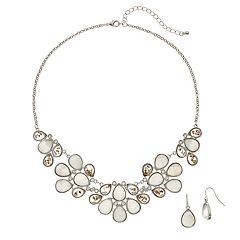 Simulated Crystal Bib Necklace & Teardrop Earring Set