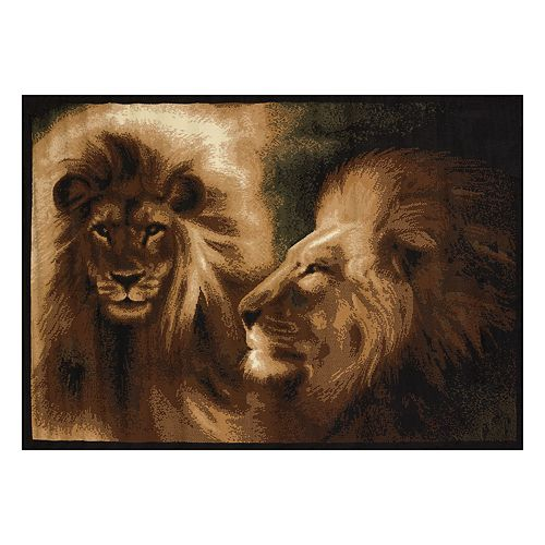 United Weavers Legends Lion Profile Printed Rug - 5'3'' x 7'2''