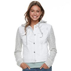 Juniors' Mudd® Knit-Sleeve Denim Jacket
