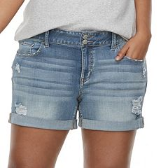 Juniors' Plus Size SO® Double-Button Denim Midi Shorts