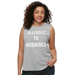 Juniors' Plus Size 'Allergic To Mornings' Tank