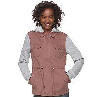 Juniors' Mudd® Knit Sleeve Utility Jacket