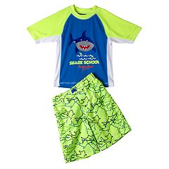 Boys 4-7 I-Extreme Shark 'Shark School' Raglan Rash Guard & Swim Trunks Set
