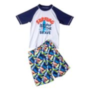 Boys 4-7 I-Extreme Raglan Rash Guard & Swim Trunks Set
