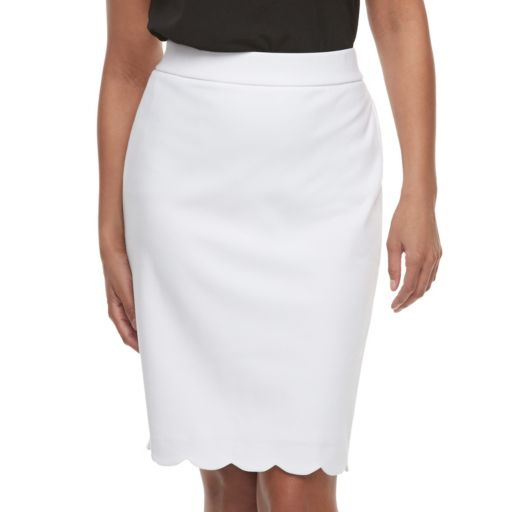 Women's ELLE™ Scallop Hem Pencil Skirt