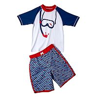 Boys 4-7 I-Extreme Snorkeling Raglan Rash Guard & Swim Trunks Set