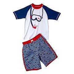 Boys 4-7 I-Extreme Snorkeling Raglan Rash Guard & Swim Trunks Set