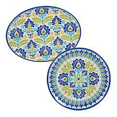 Certified International Martinique 2-piece Melamine Platter Set