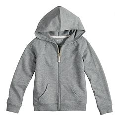 Girls 4-10 Jumping Beans® French Terry Hoodie. Charcoal Heather Periwinkle  Sugar Coral