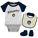 Baby Milwaukee Brewers Bodysuit, Bib & Booties Set
