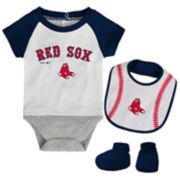 Baby Boston Red Sox  Bodysuit, Bib & Booties Set