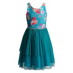 Girls 7-16 Emily West Floral Lace Bodice Tulle Skirt Dress