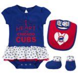Baby Chicago Cubs  Bodysuit, Bib & Booties Set