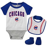Baby Chicago Cubs Bodysuit, Bib & Booties Set