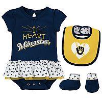Baby Milwaukee Brewers Bodysuit, Bib & Booties Set
