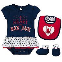 Baby Boston Red Sox Bodysuit, Bib & Booties Set