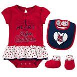 Baby St. Louis Cardinals  Bodysuit, Bib & Booties Set