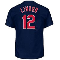 Big & Tall Majestic Cleveland Indians Francisco Lindor Name and Number Tee
