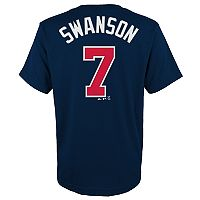 Boys 4-18 Atlanta Braves Dansby Swanson Player Name and Number Tee
