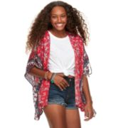 Juniors' About A Girl Tie-Sleeve Printed Gauze Kimono