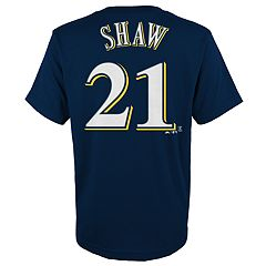 Boys 4-18 Milwaukee Brewers Travis Shaw Player Name and Number Tee