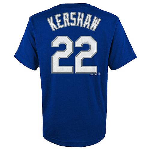 Boys 4-18 Los Angeles Dodgers Clayton Kershaw Player Name and Number Tee