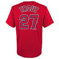 Boys 4-18 Los Angeles Angels of Anaheim Mike Trout Player Name and Number Tee