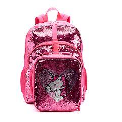Kids Flippable Sequins 'I Love Unicorns' Backpack & Lunch Bag Set
