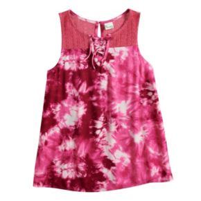 Girls 7-16 Mudd® Lace-Up Crochet Tank
